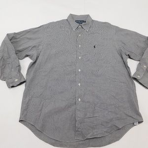Ralph Lauren XL Black White Button Down Shirt Marl